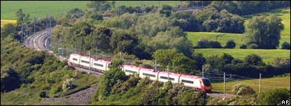 a train travelling through countryside